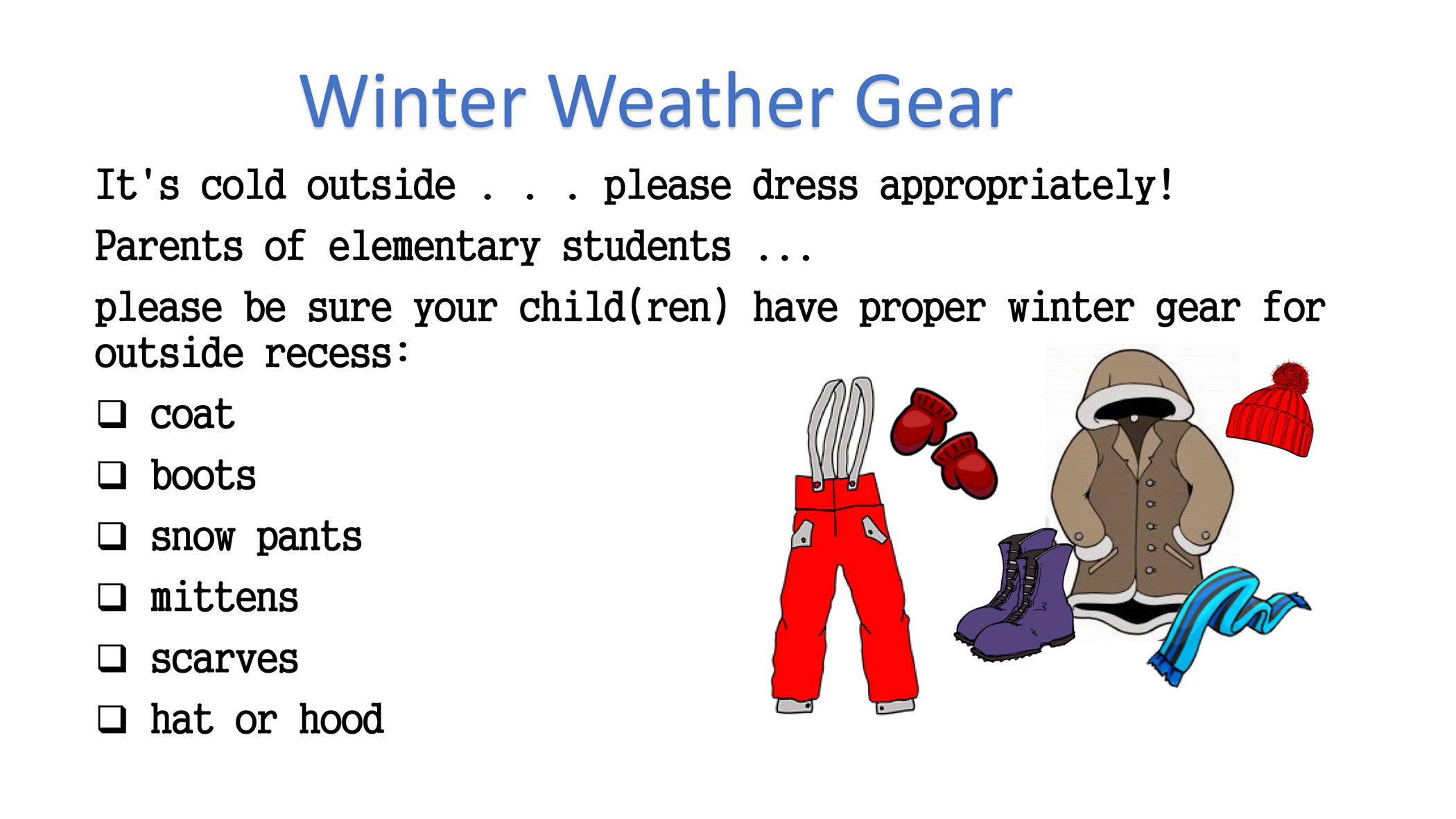 Image of outdoor winter clothing